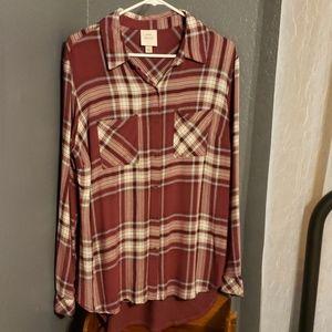 Burgundy tunic style plaid shirt